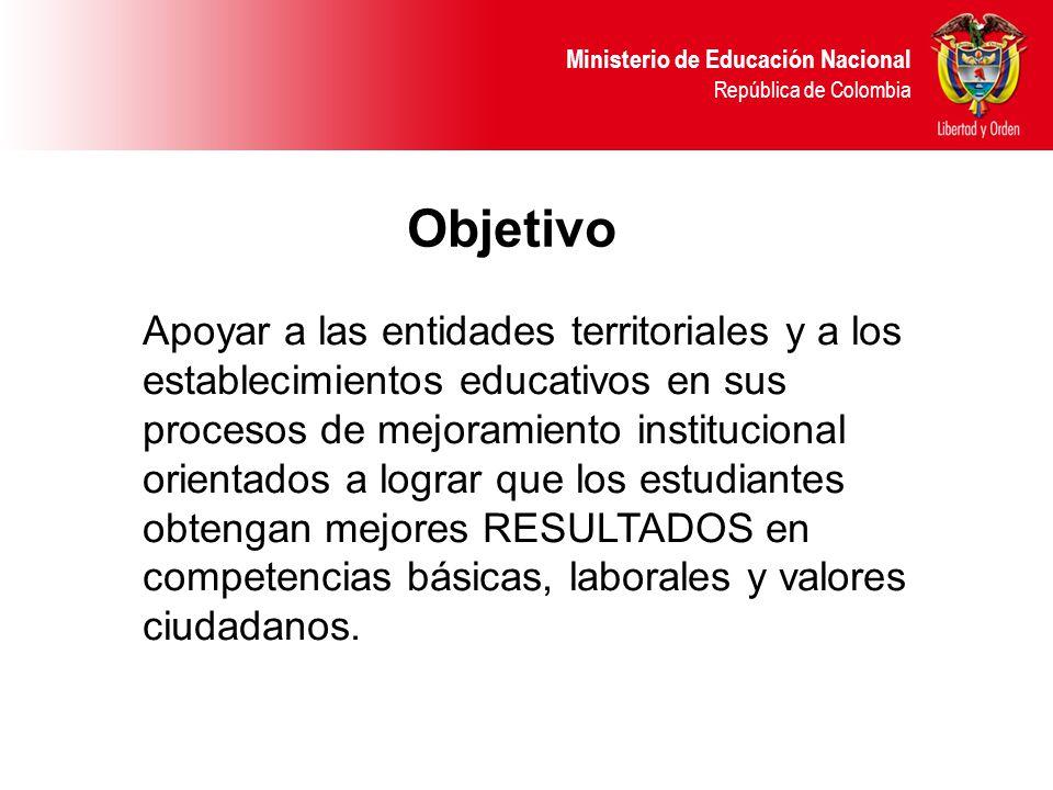 Ministerio de Educación Nacional República de Colombia Apoyar a las entidades territoriales y a los establecimientos educativos en sus procesos de mejoramiento institucional orientados a lograr que los estudiantes obtengan mejores RESULTADOS en competencias básicas, laborales y valores ciudadanos.