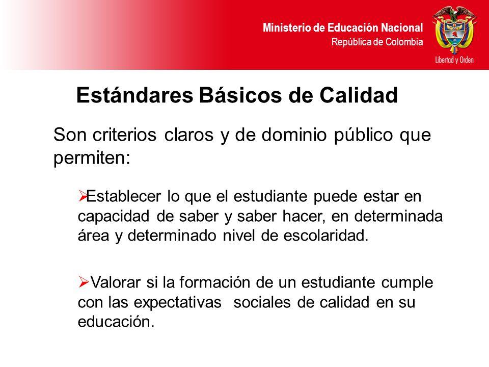 Ministerio de Educación Nacional República de Colombia Estándares Básicos de Calidad Son criterios claros y de dominio público que permiten: Establecer lo que el estudiante puede estar en capacidad de saber y saber hacer, en determinada área y determinado nivel de escolaridad.