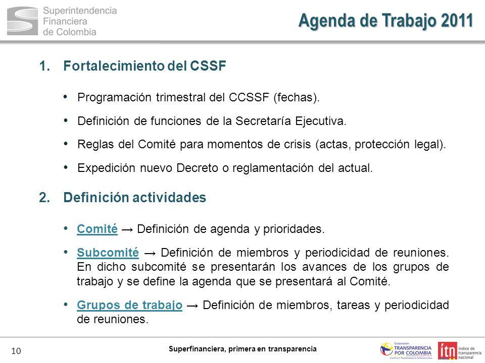10 Superfinanciera, primera en transparencia Agenda de Trabajo 2011 1.Fortalecimiento del CSSF Programación trimestral del CCSSF (fechas). Definición