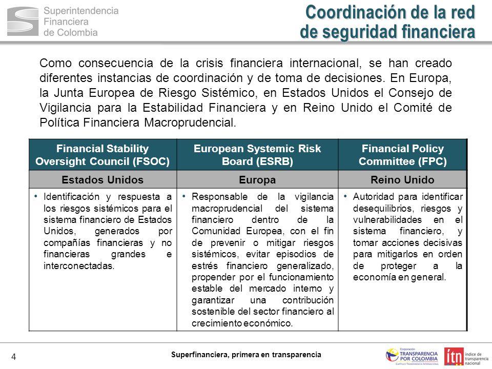 4 Superfinanciera, primera en transparencia Como consecuencia de la crisis financiera internacional, se han creado diferentes instancias de coordinaci