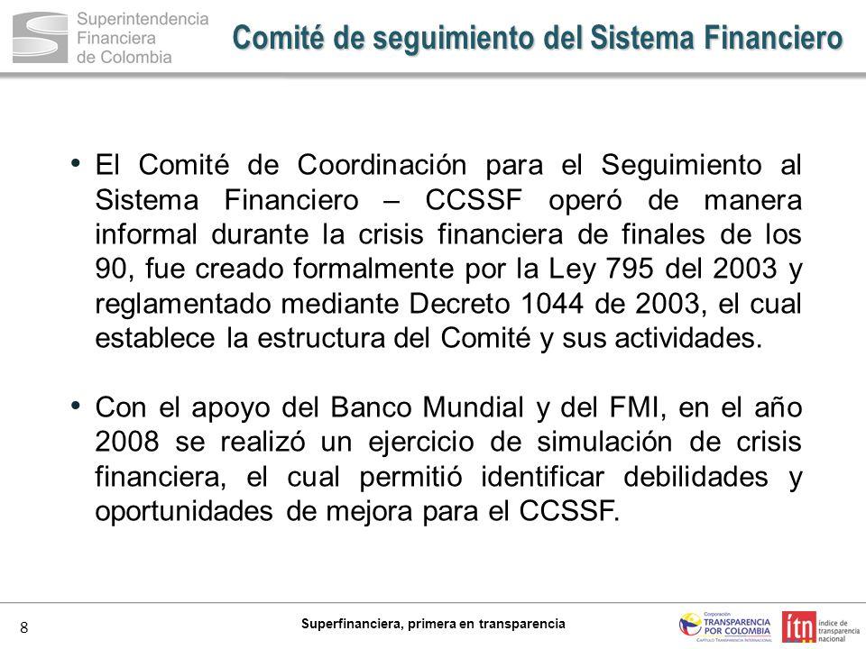 8 Superfinanciera, primera en transparencia Comité de seguimiento del Sistema Financiero El Comité de Coordinación para el Seguimiento al Sistema Fina