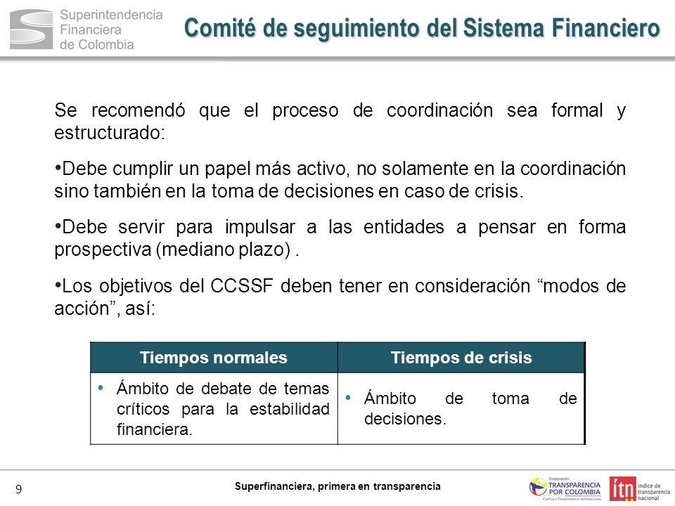 9 Superfinanciera, primera en transparencia Se recomendó que el proceso de coordinación sea formal y estructurado: Debe cumplir un papel más activo, n