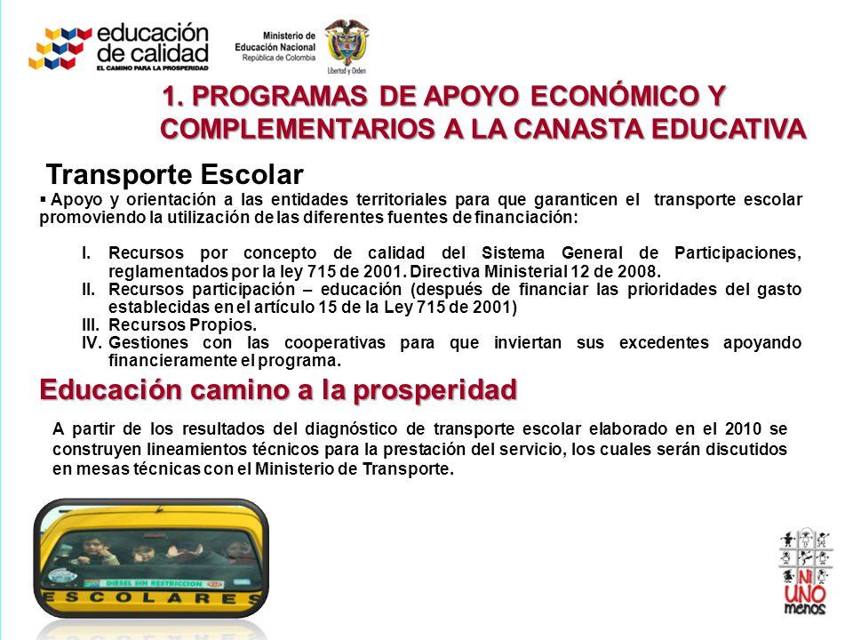 Transporte Escolar Apoyo y orientación a las entidades territoriales para que garanticen el transporte escolar promoviendo la utilización de las difer