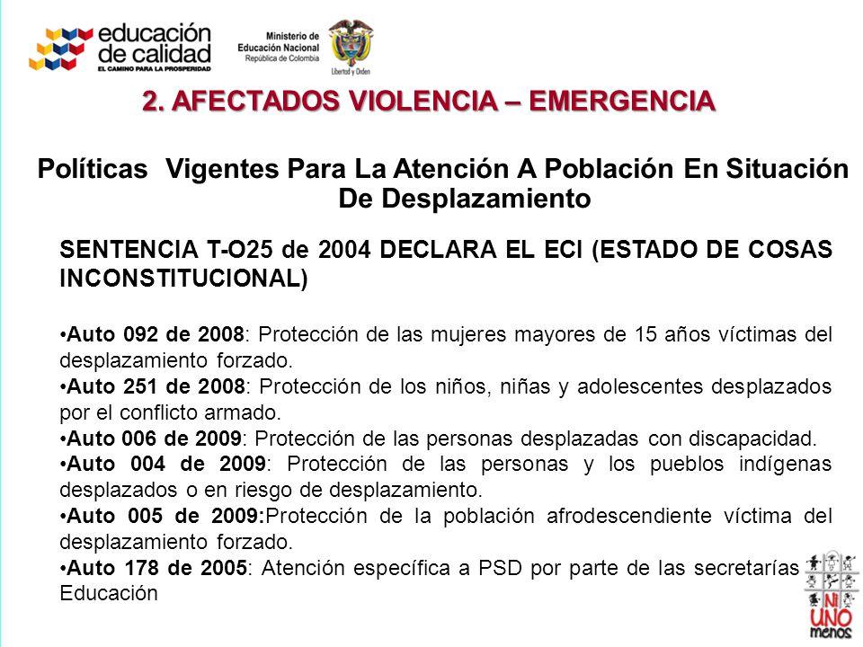 SENTENCIA T-O25 de 2004 DECLARA EL ECI (ESTADO DE COSAS INCONSTITUCIONAL) Auto 092 de 2008: Protección de las mujeres mayores de 15 años víctimas del