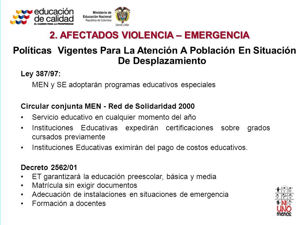 Ley 387/97: MEN y SE adoptarán programas educativos especiales Circular conjunta MEN - Red de Solidaridad 2000 Servicio educativo en cualquier momento