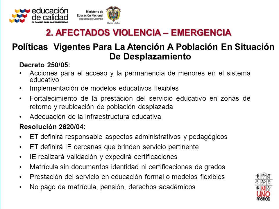 Decreto 250/05: Acciones para el acceso y la permanencia de menores en el sistema educativo Implementación de modelos educativos flexibles Fortalecimi
