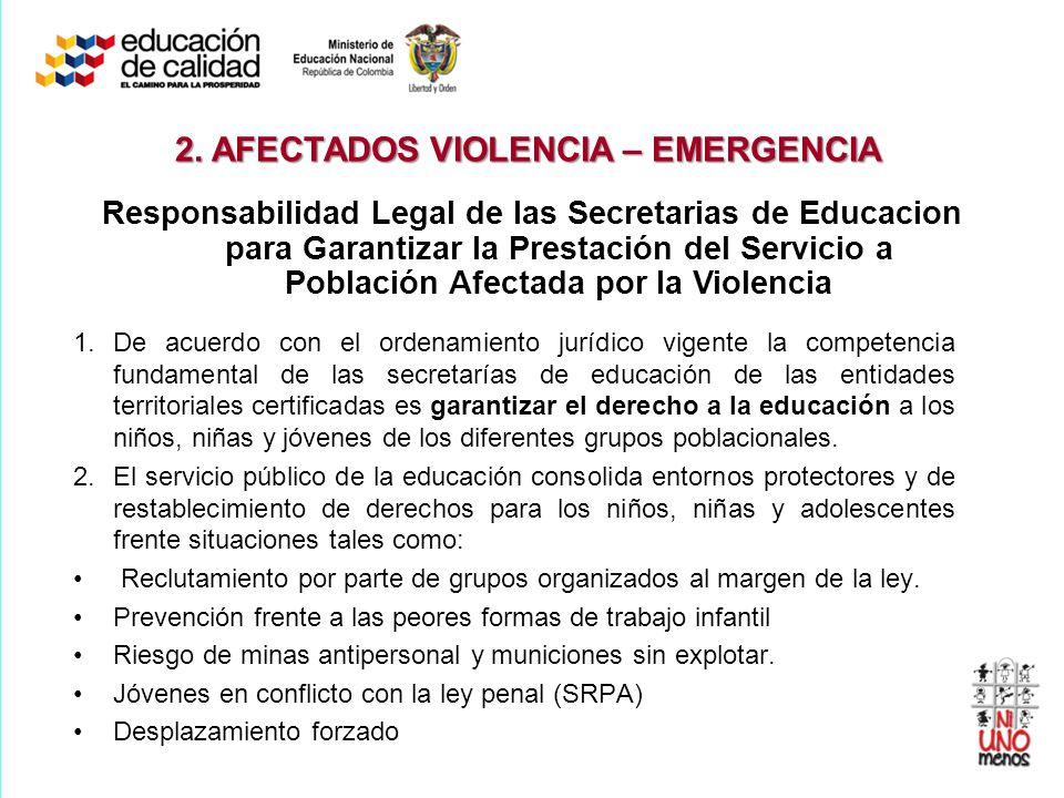 Responsabilidad Legal de las Secretarias de Educacion para Garantizar la Prestación del Servicio a Población Afectada por la Violencia 1.De acuerdo co
