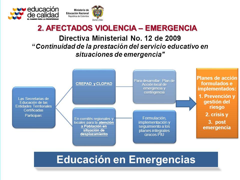 Directiva Ministerial No. 12 de 2009Continuidad de la prestación del servicio educativo en situaciones de emergencia