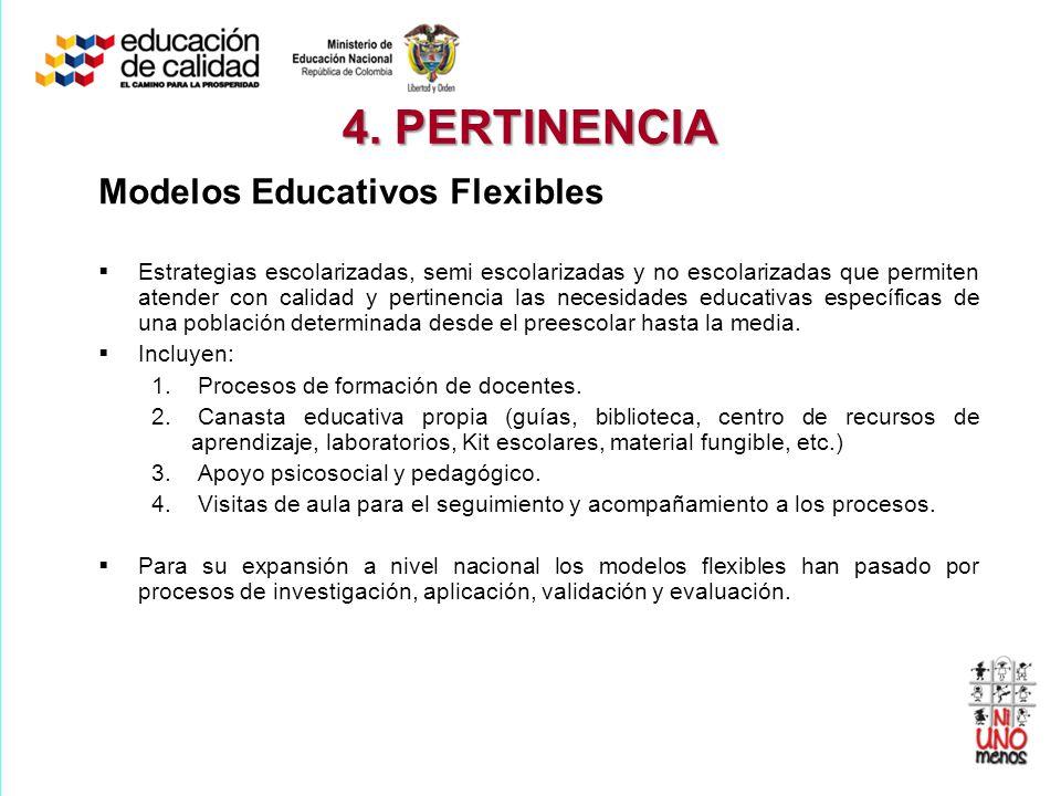 4. PERTINENCIA Modelos Educativos Flexibles Estrategias escolarizadas, semi escolarizadas y no escolarizadas que permiten atender con calidad y pertin