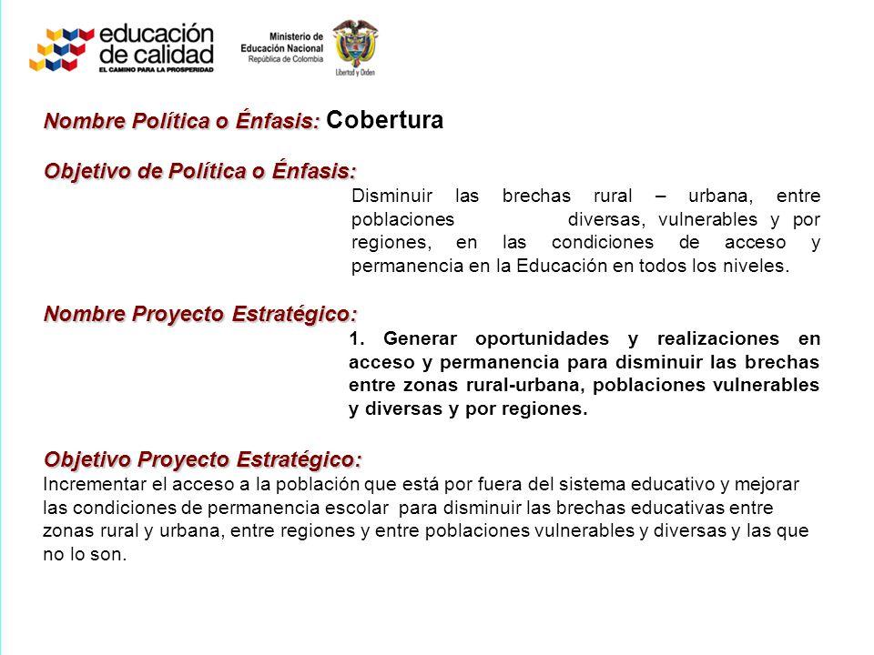 Nombre Política o Énfasis: Nombre Política o Énfasis: Cobertura Objetivo de Política o Énfasis: Disminuir las brechas rural – urbana, entre poblacione