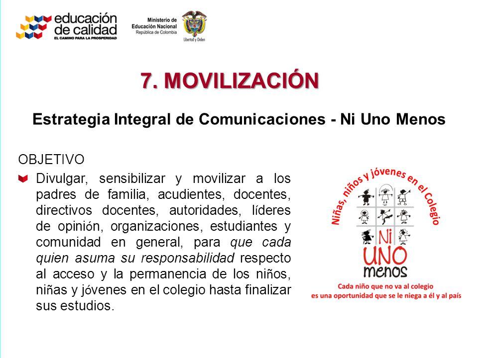 Estrategia Integral de Comunicaciones - Ni Uno Menos OBJETIVO Divulgar, sensibilizar y movilizar a los padres de familia, acudientes, docentes, direct