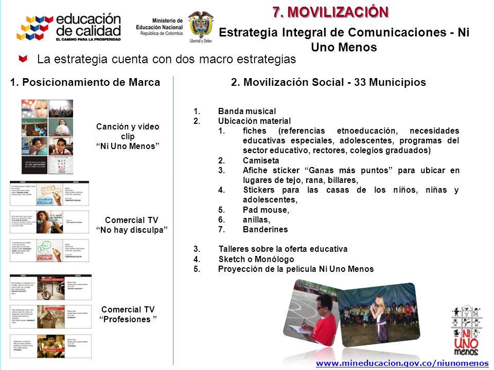 Canción y video clip Ni Uno Menos Comercial TV No hay disculpa Comercial TV Profesiones www.mineducacion.gov.co/niunomenos La estrategia cuenta con do