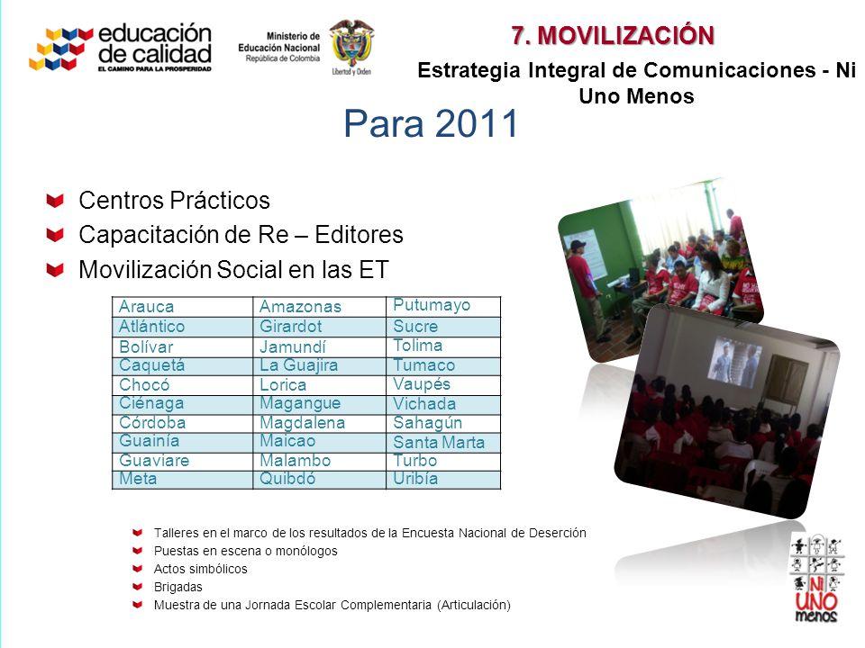 Para 2011 Centros Prácticos Capacitación de Re – Editores Movilización Social en las ET Talleres en el marco de los resultados de la Encuesta Nacional
