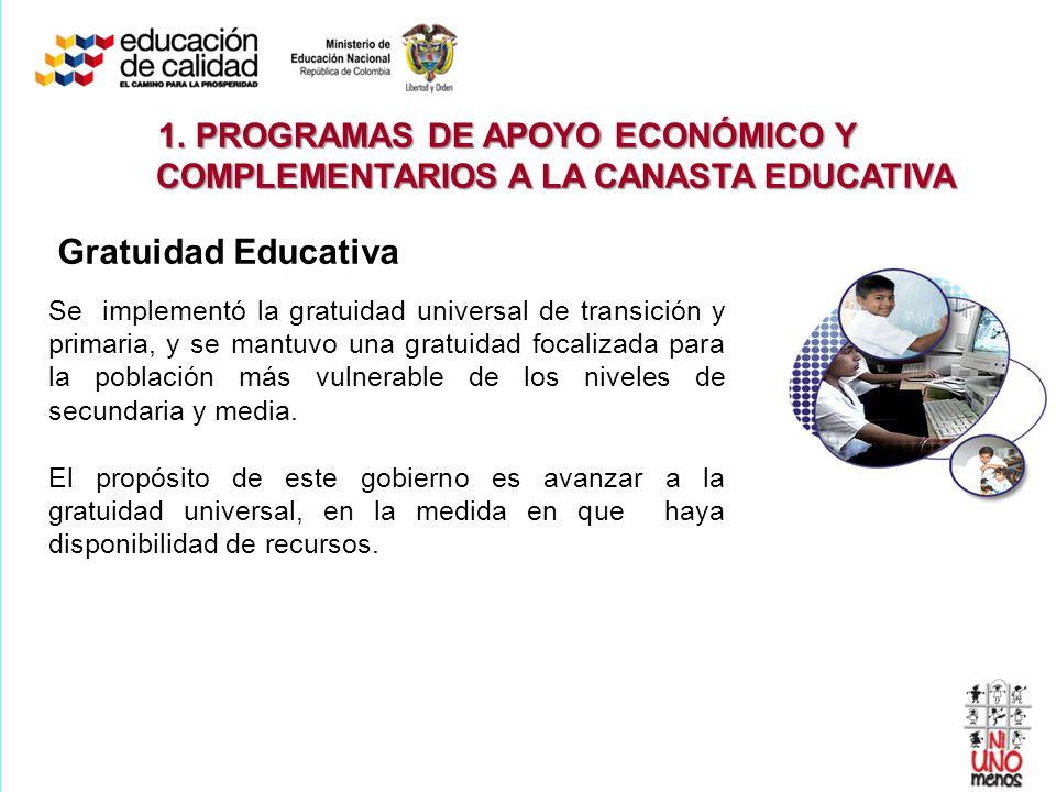 Gratuidad Educativa Se implementó la gratuidad universal de transición y primaria, y se mantuvo una gratuidad focalizada para la población más vulnera
