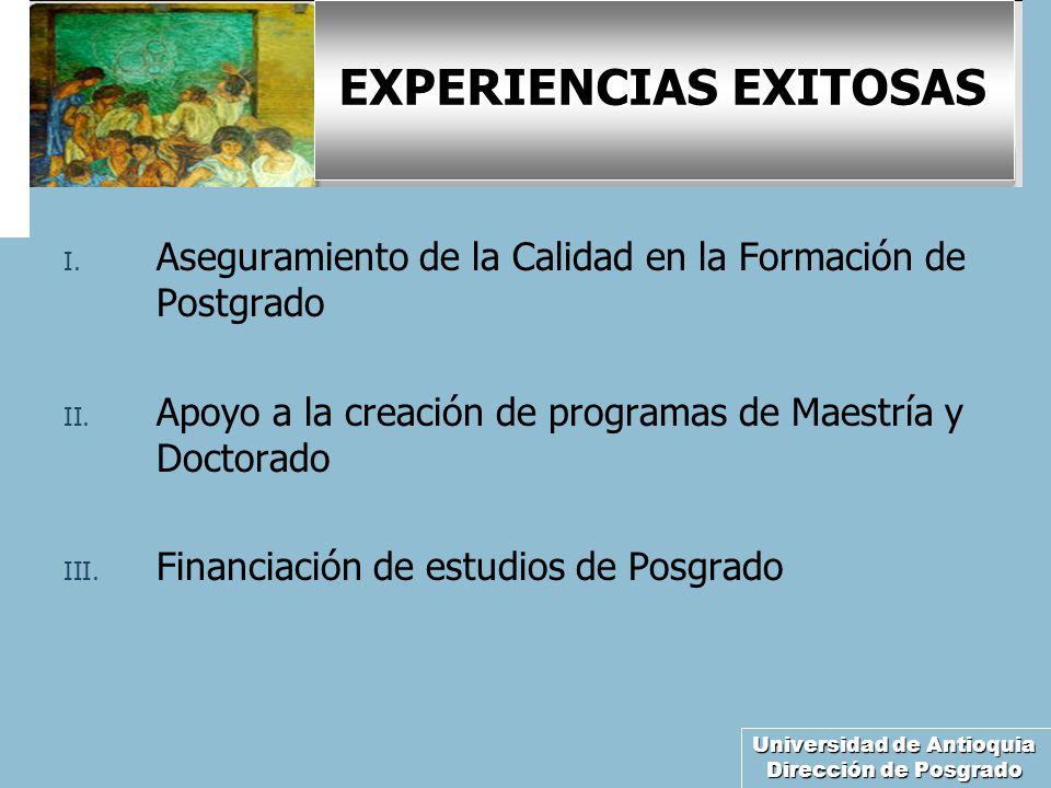 Universidad de Antioquia Dirección de Posgrado EXPERIENCIAS EXITOSAS I. Aseguramiento de la Calidad en la Formación de Postgrado II. Apoyo a la creaci