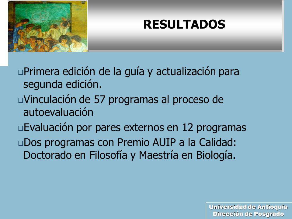 Universidad de Antioquia Dirección de Posgrado RESULTADOS Primera edición de la guía y actualización para segunda edición. Vinculación de 57 programas