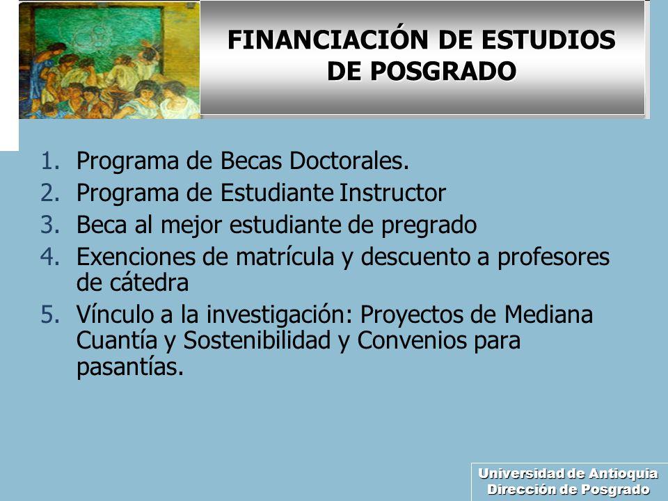 Universidad de Antioquia Dirección de Posgrado FINANCIACIÓN DE ESTUDIOS DE POSGRADO 1.Programa de Becas Doctorales. 2.Programa de Estudiante Instructo