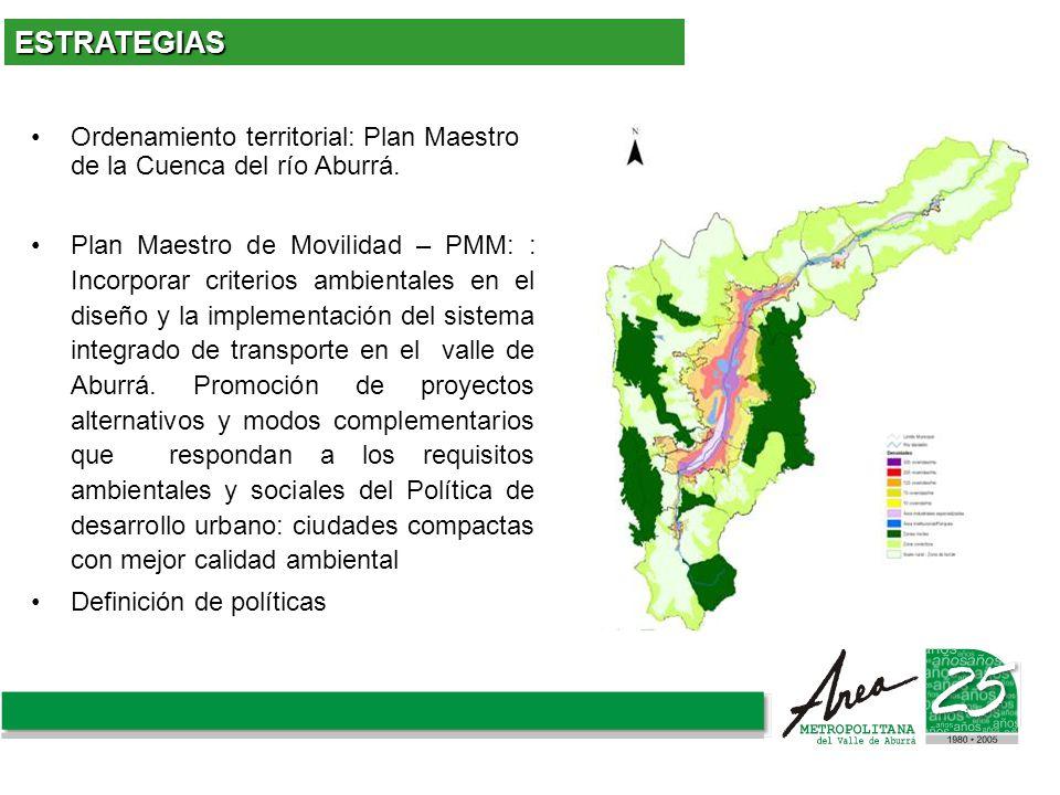 Ordenamiento territorial: Plan Maestro de la Cuenca del río Aburrá. Plan Maestro de Movilidad – PMM: : Incorporar criterios ambientales en el diseño y