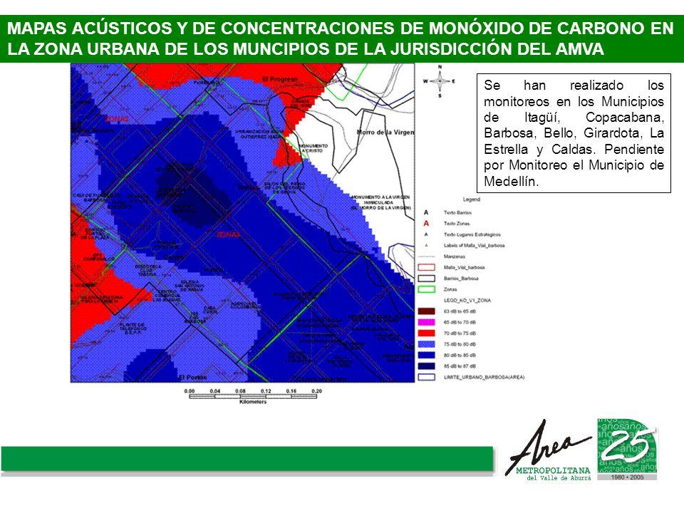 MAPAS ACÚSTICOS Y DE CONCENTRACIONES DE MONÓXIDO DE CARBONO EN LA ZONA URBANA DE LOS MUNCIPIOS DE LA JURISDICCIÓN DEL AMVA Se han realizado los monito
