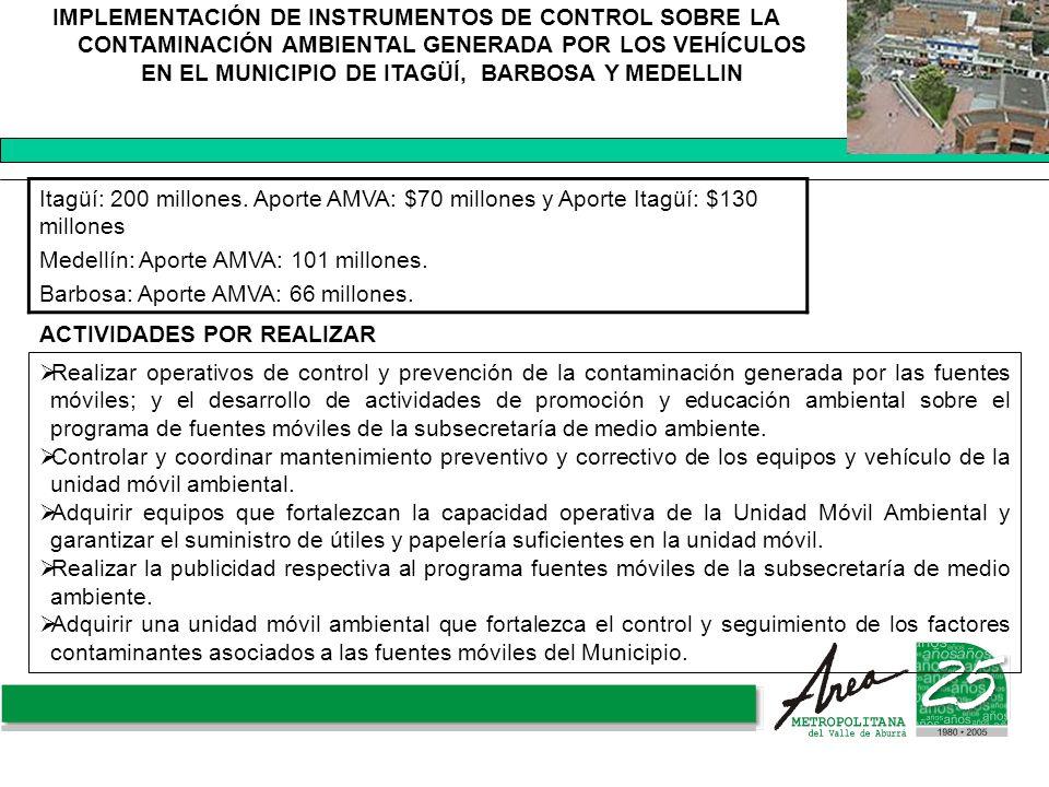 IMPLEMENTACIÓN DE INSTRUMENTOS DE CONTROL SOBRE LA CONTAMINACIÓN AMBIENTAL GENERADA POR LOS VEHÍCULOS EN EL MUNICIPIO DE ITAGÜÍ, BARBOSA Y MEDELLIN It