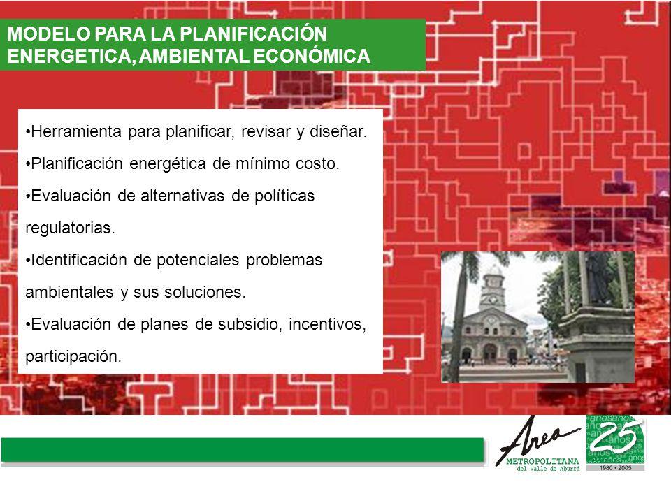 Herramienta para planificar, revisar y diseñar. Planificación energética de mínimo costo. Evaluación de alternativas de políticas regulatorias. Identi