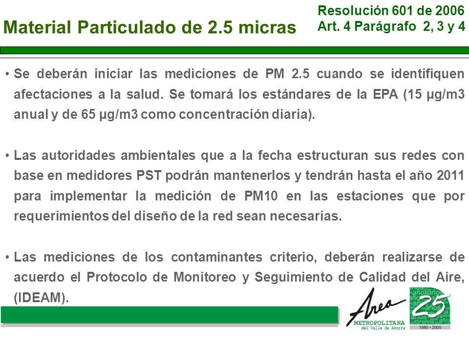 Material Particulado de 2.5 micras Se deberán iniciar las mediciones de PM 2.5 cuando se identifiquen afectaciones a la salud. Se tomará los estándare