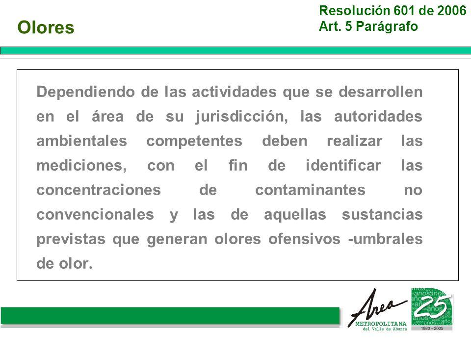 Olores Dependiendo de las actividades que se desarrollen en el área de su jurisdicción, las autoridades ambientales competentes deben realizar las med