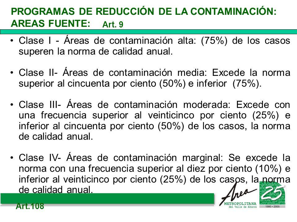 PROGRAMAS DE REDUCCIÓN DE LA CONTAMINACIÓN: AREAS FUENTE: Clase I - Áreas de contaminación alta: (75%) de los casos superen la norma de calidad anual.