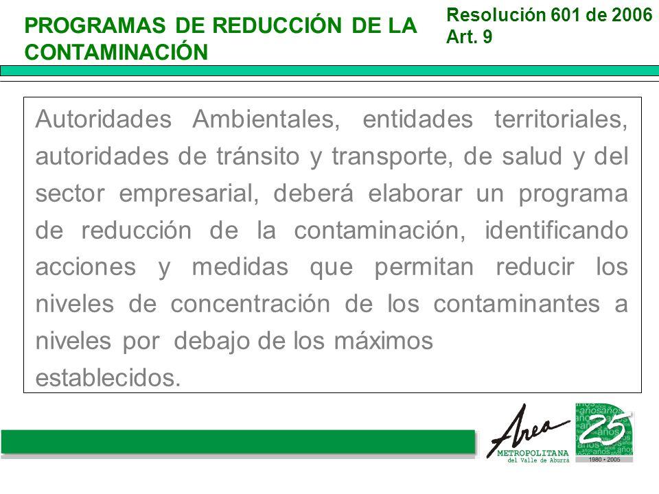 PROGRAMAS DE REDUCCIÓN DE LA CONTAMINACIÓN Resolución 601 de 2006 Art. 9 Autoridades Ambientales, entidades territoriales, autoridades de tránsito y t