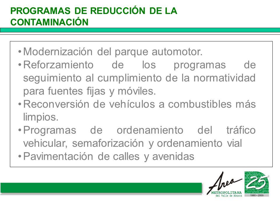 Modernización del parque automotor. Reforzamiento de los programas de seguimiento al cumplimiento de la normatividad para fuentes fijas y móviles. Rec
