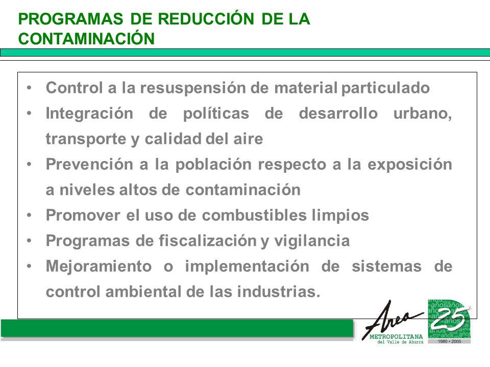 Control a la resuspensión de material particulado Integración de políticas de desarrollo urbano, transporte y calidad del aire Prevención a la poblaci
