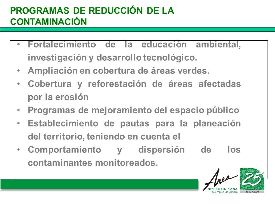 Fortalecimiento de la educación ambiental, investigación y desarrollo tecnológico. Ampliación en cobertura de áreas verdes. Cobertura y reforestación