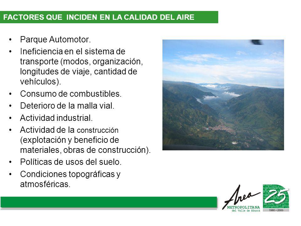 Parque Automotor. Ineficiencia en el sistema de transporte (modos, organización, longitudes de viaje, cantidad de vehículos). Consumo de combustibles.