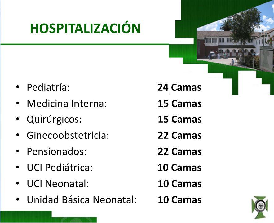 HOSPITALIZACIÓN Pediatría: 24 Camas Medicina Interna: 15 Camas Quirúrgicos:15 Camas Ginecoobstetricia:22 Camas Pensionados:22 Camas UCI Pediátrica: 10