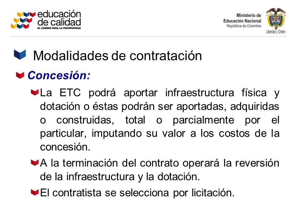 Concesión: La ETC podrá aportar infraestructura física y dotación o éstas podrán ser aportadas, adquiridas o construidas, total o parcialmente por el