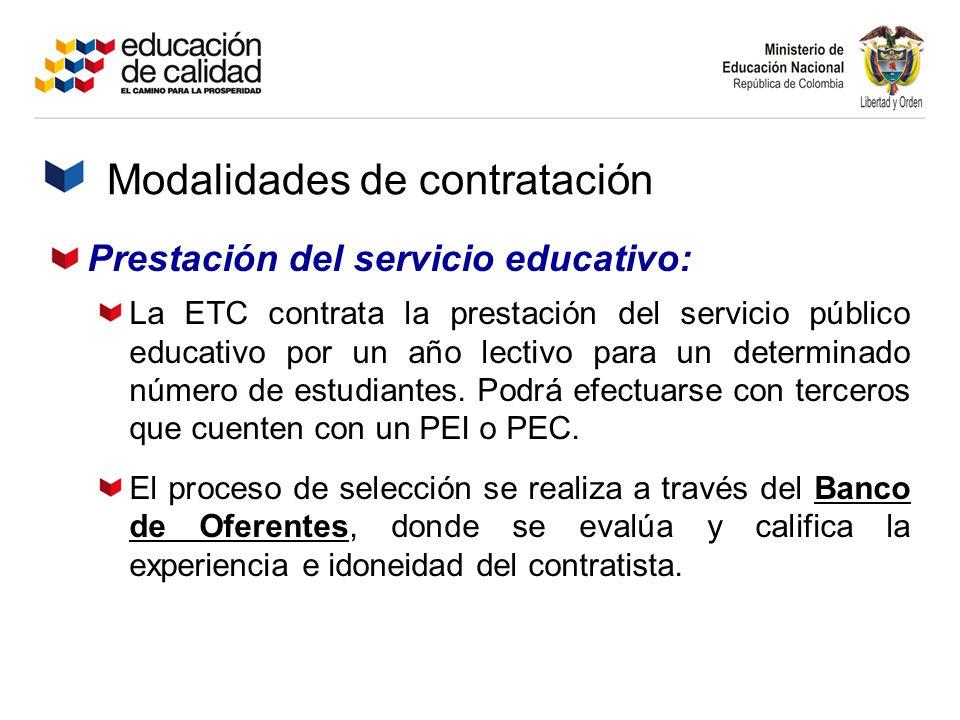 Prestación del servicio educativo: La ETC contrata la prestación del servicio público educativo por un año lectivo para un determinado número de estud