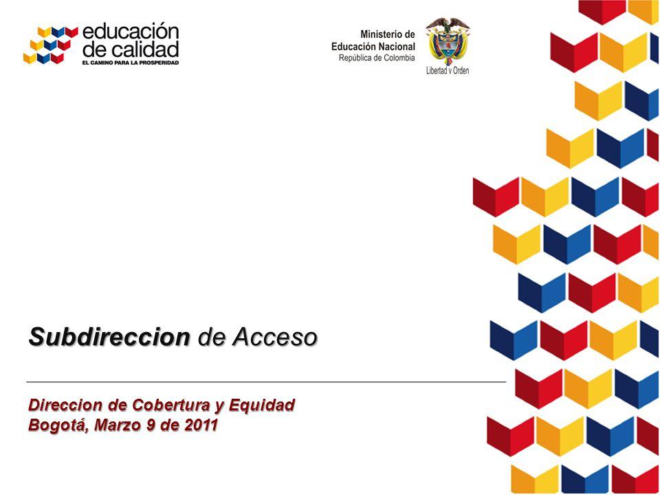 Subdireccion de Acceso Direccion de Cobertura y Equidad Bogotá, Marzo 9 de 2011