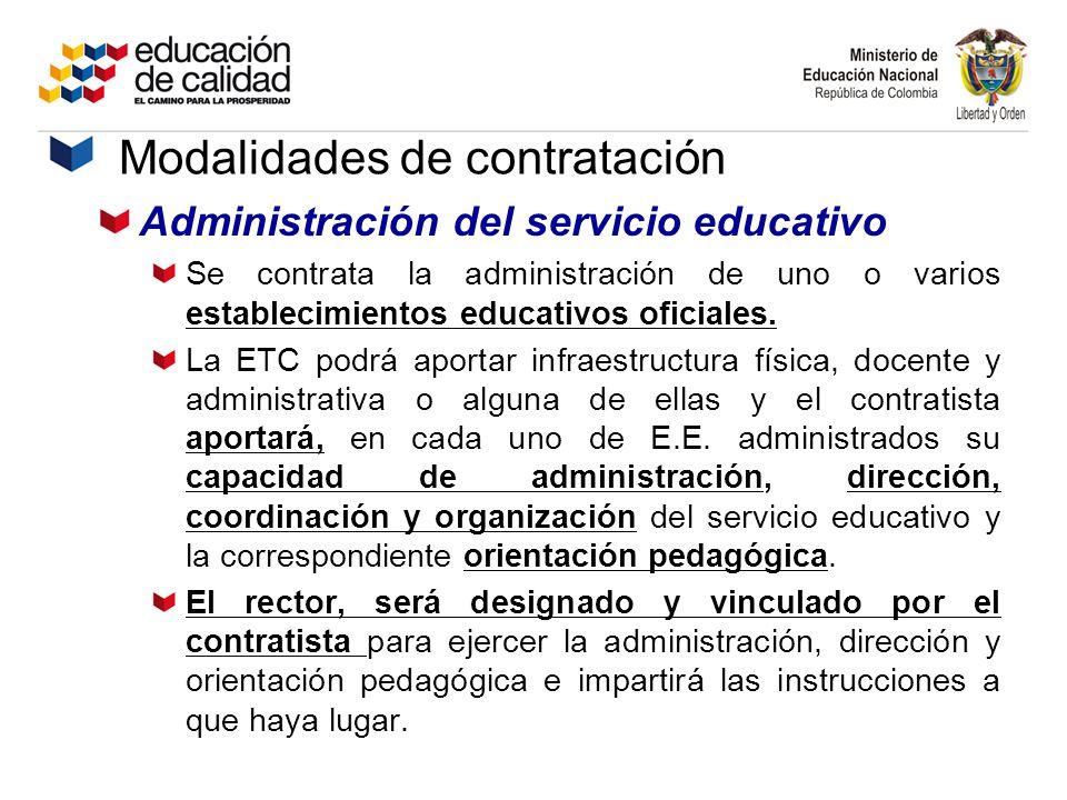 Administración del servicio educativo Se contrata la administración de uno o varios establecimientos educativos oficiales. La ETC podrá aportar infrae