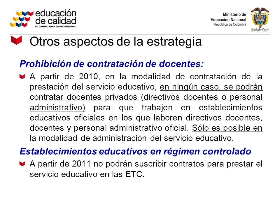 Otros aspectos de la estrategia Prohibición de contratación de docentes: A partir de 2010, en la modalidad de contratación de la prestación del servic
