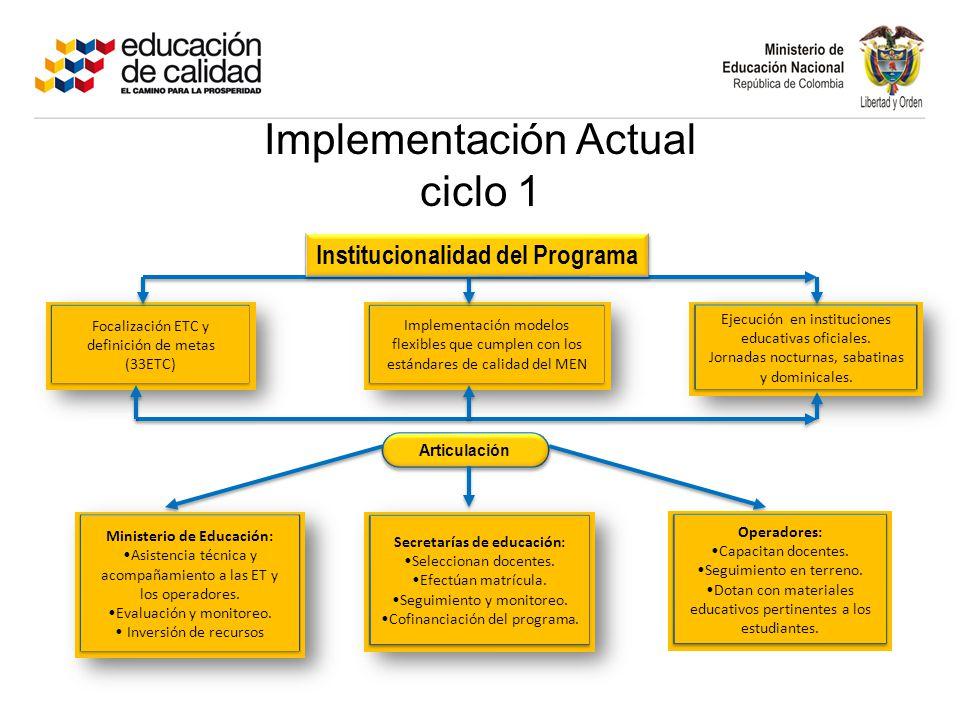 Implementación Actual ciclo 1 Focalización ETC y definición de metas (33ETC) Implementación modelos flexibles que cumplen con los estándares de calidad del MEN Ejecución en instituciones educativas oficiales.