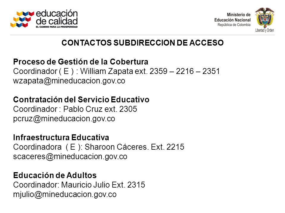 CONTACTOS SUBDIRECCION DE ACCESO Proceso de Gestión de la Cobertura Coordinador ( E ) : William Zapata ext. 2359 – 2216 – 2351 wzapata@mineducacion.go