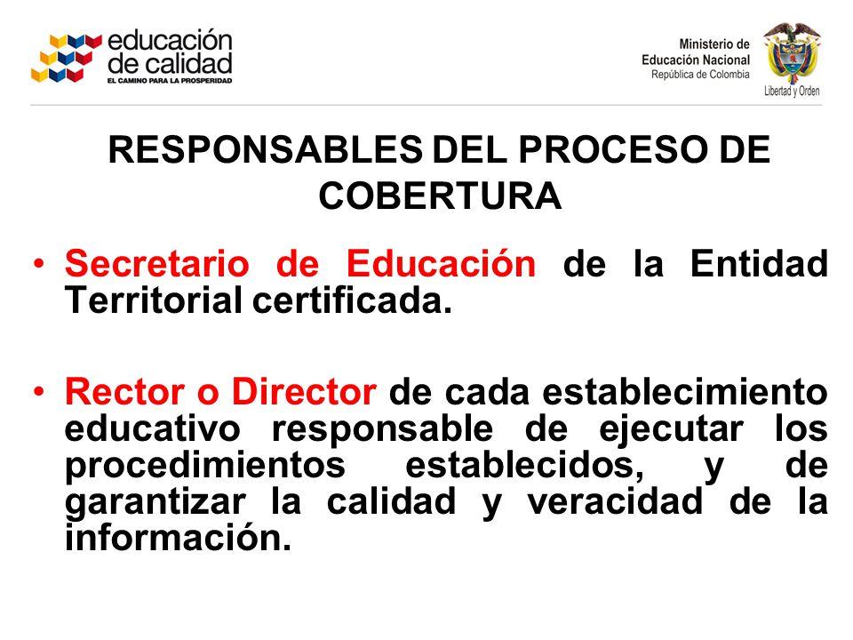Secretario de Educación de la Entidad Territorial certificada. Rector o Director de cada establecimiento educativo responsable de ejecutar los procedi