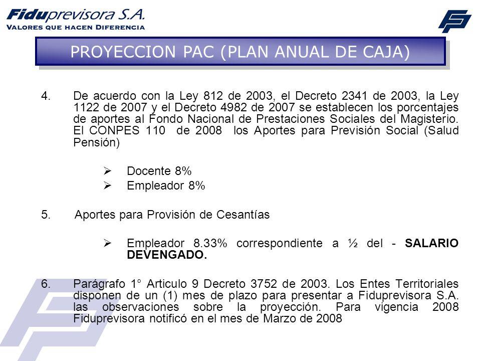 4.De acuerdo con la Ley 812 de 2003, el Decreto 2341 de 2003, la Ley 1122 de 2007 y el Decreto 4982 de 2007 se establecen los porcentajes de aportes a