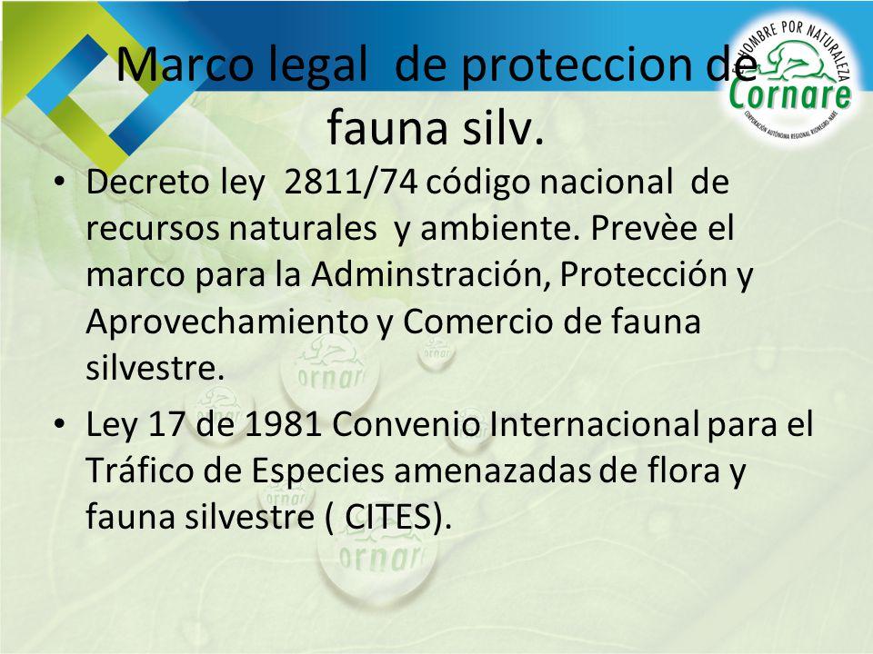 Marco legal de proteccion de fauna silv. Decreto ley 2811/74 código nacional de recursos naturales y ambiente. Prevèe el marco para la Adminstración,