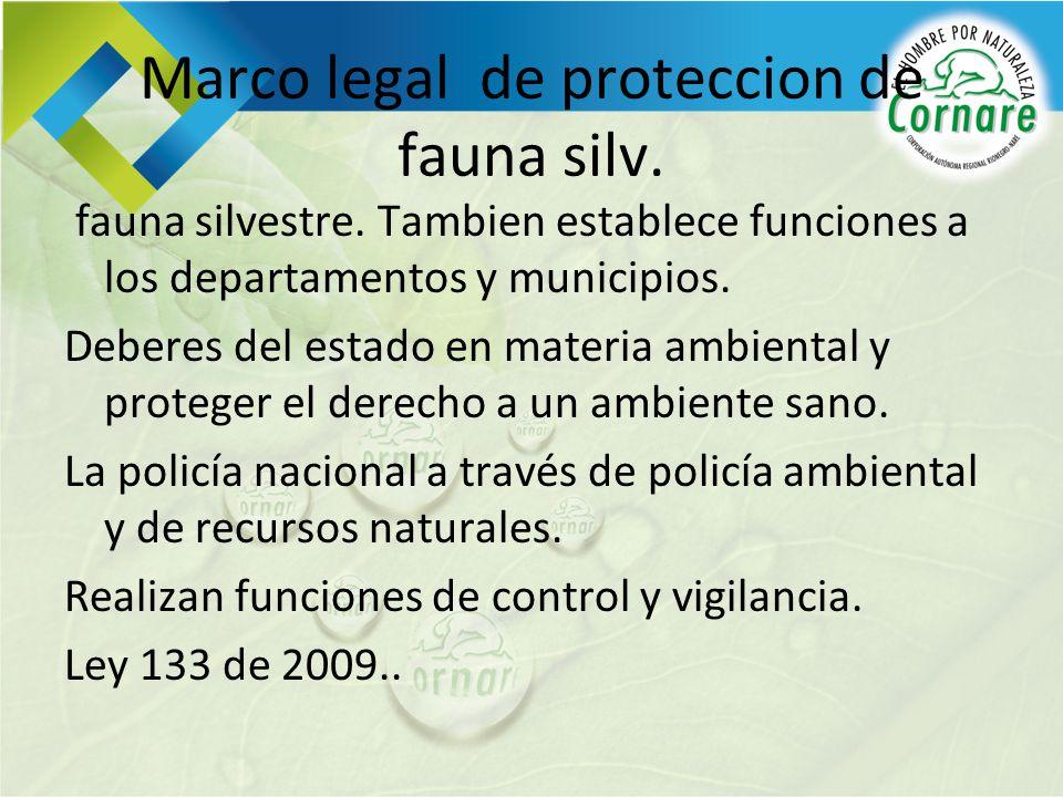 Marco legal de proteccion de fauna silv. fauna silvestre. Tambien establece funciones a los departamentos y municipios. Deberes del estado en materia