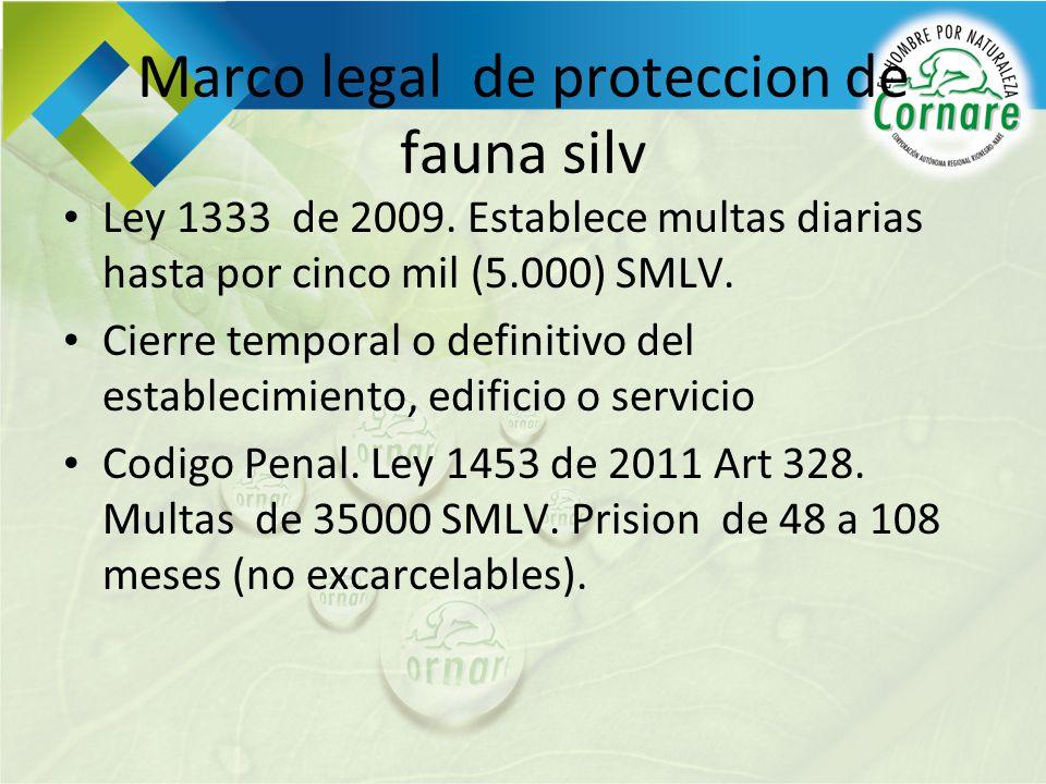 Marco legal de proteccion de fauna silv Ley 1333 de 2009. Establece multas diarias hasta por cinco mil (5.000) SMLV. Cierre temporal o definitivo del