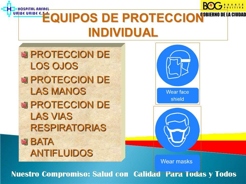 EQUIPOS DE PROTECCION INDIVIDUAL PROTECCION DE LOS OJOS PROTECCION DE LAS MANOS PROTECCION DE LAS VIAS RESPIRATORIAS BATA ANTIFLUIDOS