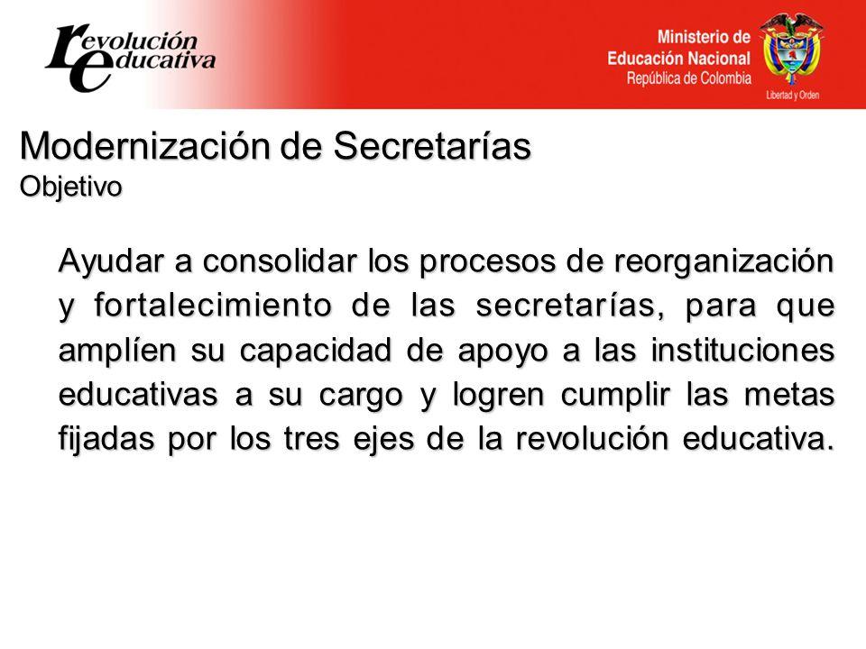 Ayudar a consolidar los procesos de reorganización y fortalecimiento de las secretarías, para que amplíen su capacidad de apoyo a las instituciones ed