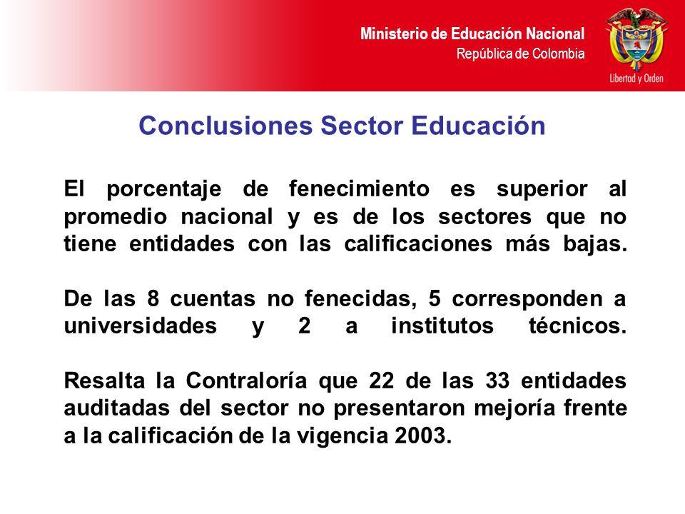 Ministerio de Educación Nacional República de Colombia Conclusiones Sector Educación El porcentaje de fenecimiento es superior al promedio nacional y