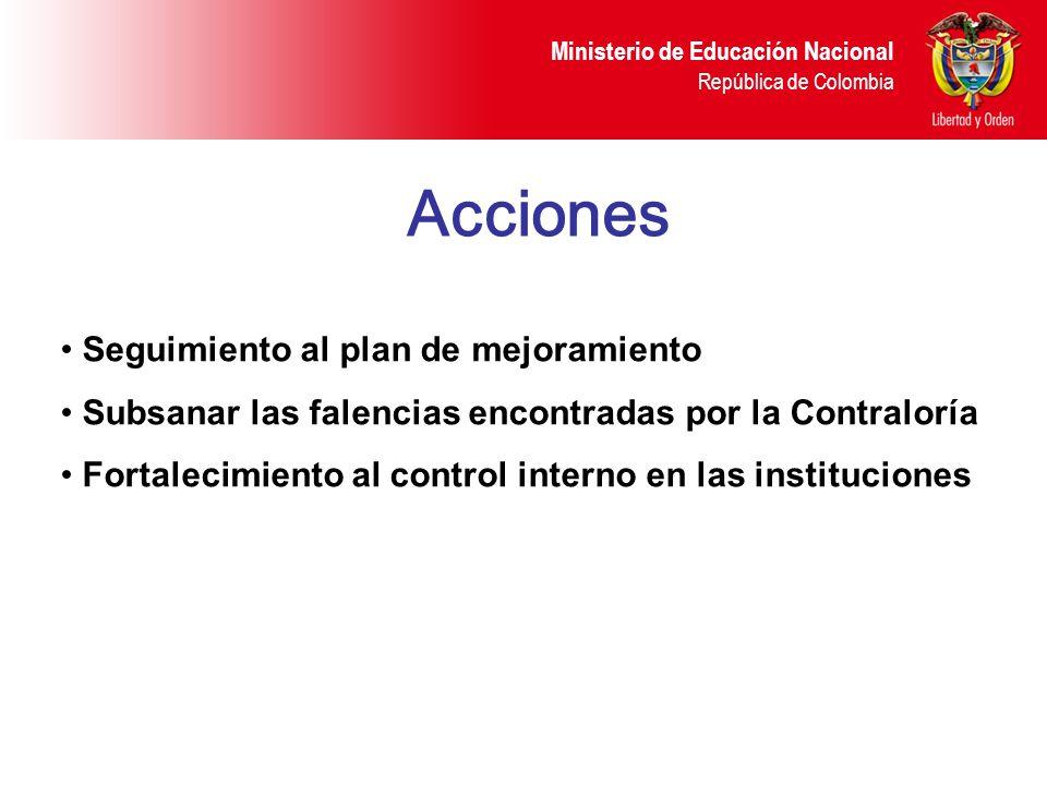 Ministerio de Educación Nacional República de Colombia Acciones Seguimiento al plan de mejoramiento Subsanar las falencias encontradas por la Contralo